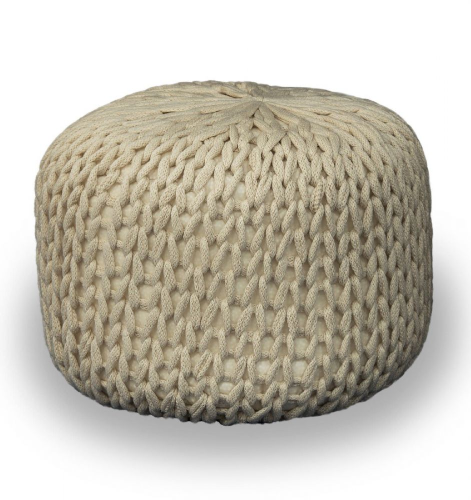 CHAMPAGNE FOOT STOOL MOROCCAN CUBE OTTOMAN HANDMADE CHUNKY 100% COTTON KNITTED POUFFE